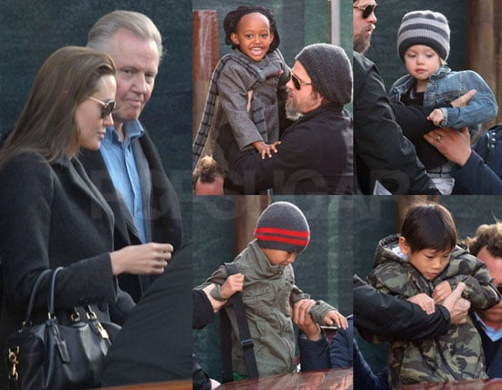 Photos of Angelina Jolie, Brad Pitt, Jon Voight, Zahara Jolie-Pitt, And Pax Jolie-Pitt Together in Venice