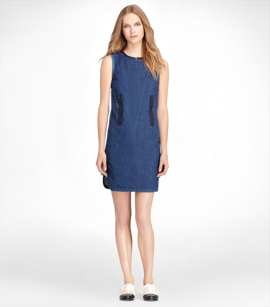 Pair this Tory Burch Pieced denim dress ($100, originally $250) with metallic loafers and cool shades for an easy weekend outfit.
