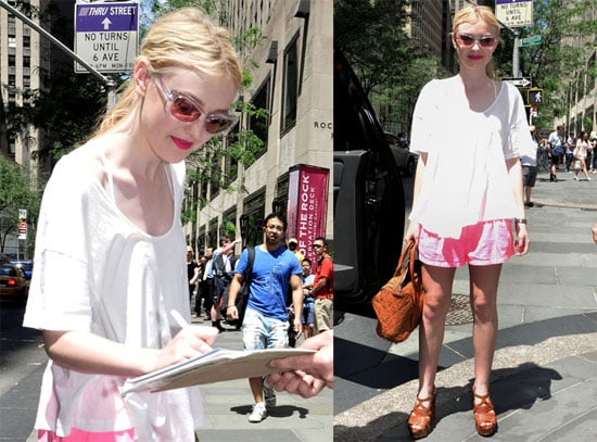 Pictures of Dakota Fanning Wearing Bright Red Lipstick in NYC