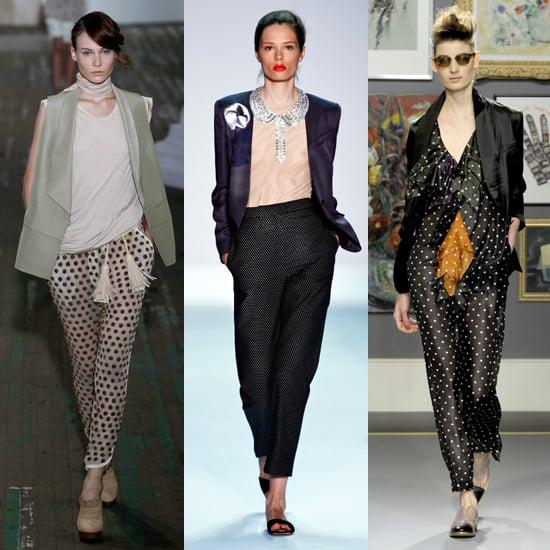 """The style hit big for Spring 2011, making appearances on the runways of several designers. Here, a sheer black-on-white pair from 3.1 Phillip Lim (left), a small-scale print from Isaac Mizrahi (center), and a slinky style from Paul Smith (right).  Shop similar styles:  <iframe width=""""286"""" scrolling=""""no"""" height=""""244"""" frameborder=""""0"""" src=""""http://widget.shopstyle.com/widget?pid=uid5121-1693761-41&look=3500450&width=3&height=3&layouttype=0&border=0&footer=0""""></iframe>"""