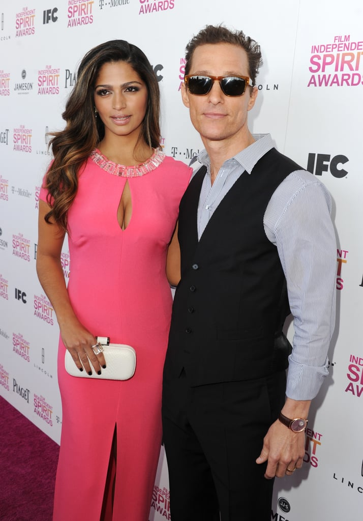 Matthew McConaughey and Camila Alves posed for photos on the carpet.