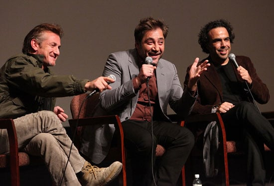 Pictures of Alejandro Gonzalez Inarritu, Javier Bardem, Sean Penn at a Round Table in LA