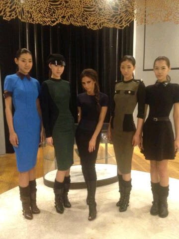 Victoria Beckham posed with models dressed in her Autumn/Winter 2012 designs. Source: Twitter User VictoriaBeckham