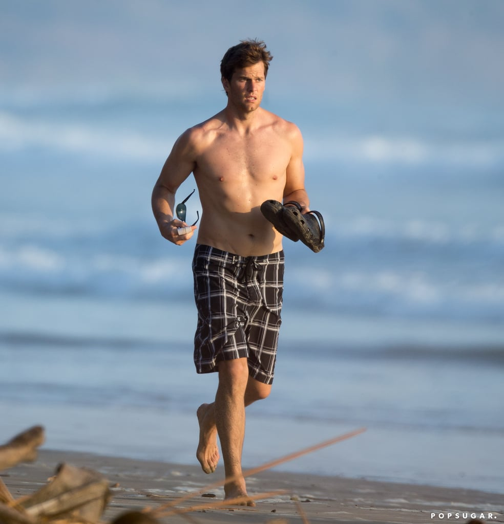 Tom Brady went shirtless in Costa Rica.