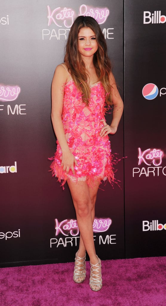 Selena sported a hot-pink feathered Emilio Pucci mini to the premiere of Katy Perry: Part of Me in June 2012.