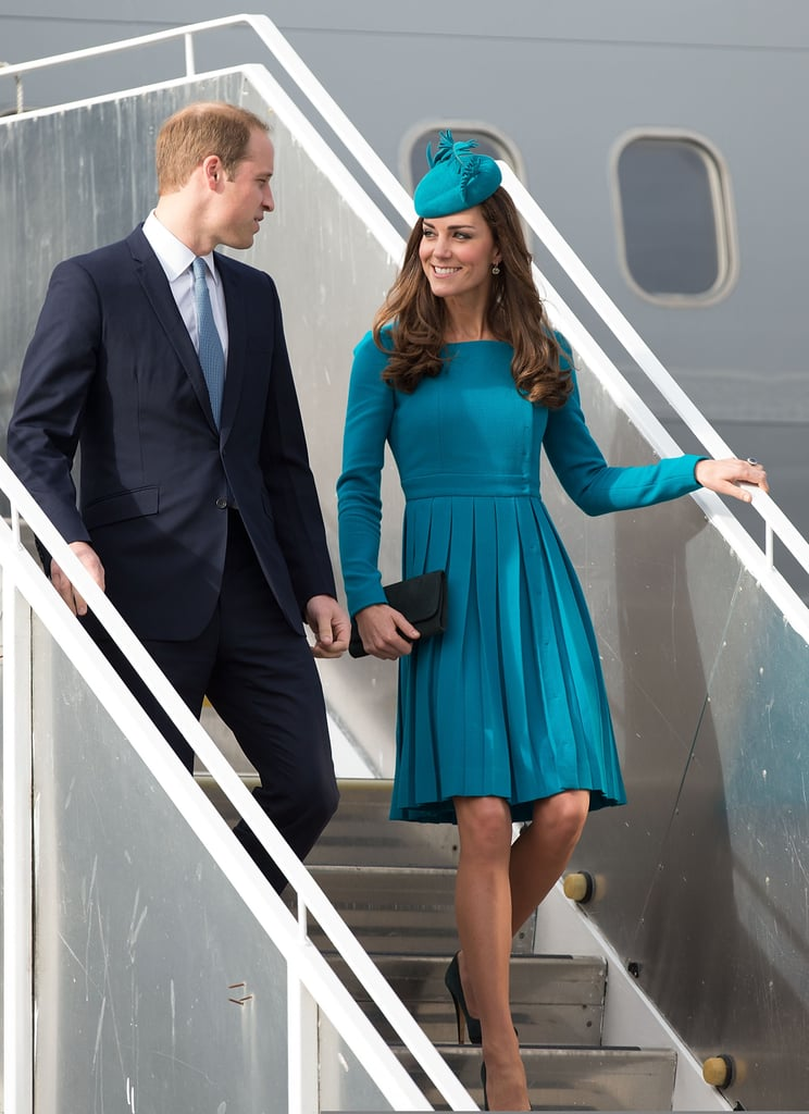 Even disembarking from an aircraft is a smiley affair for Prince William and Kate, pictured here arriving in Dunedin, New Zealand, in April 2014.