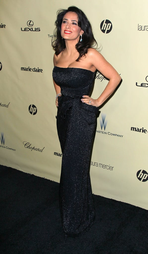 Actress Selma Hayek recovered from some technical difficulties during the show by partying the night away.