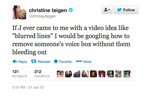 Note to John Legend: keep all the girls in your future film clips fully-clothed. You don't wanna mess with Chrissy.