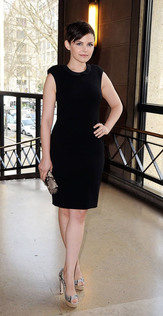We love Ginnifer Goodwin's curve-hugging LBD, but even more, we love the snakeskin accessories.