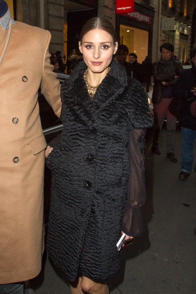Olivia Palermo arrived at the Rochas show in Paris for Fashion Week in February.