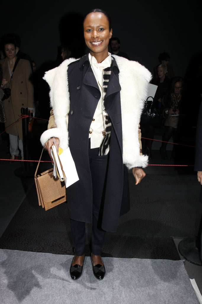 Shala Monroque layered up on tailored pieces and polished the look off with cool loafers at Giambattista Valli.