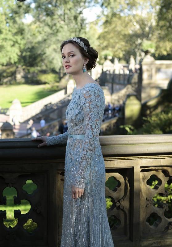 Blair's blue dress comes courtesy of Elie Saab.