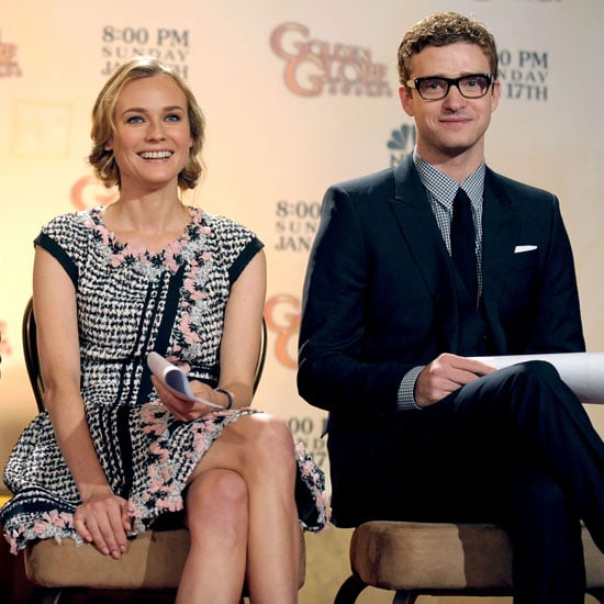 Justin Timberlake joined Diane Kruger to announce the 2011 Golden Globe nominations in LA.