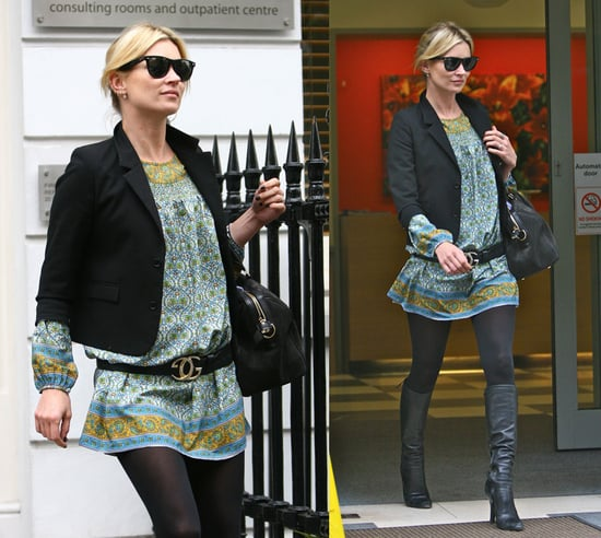 Kate Moss Leaves Medical Building in London Wearing a Paisley Tunic and Black Blazer
