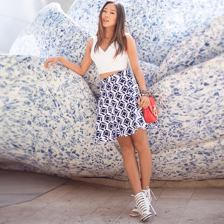 For a casual wedding occasion, slip on a crop top and skirt set — just remember to keep it appropriate with a crop top or high-waisted skirt that covers your navel. Source: Instagram user songofstyle