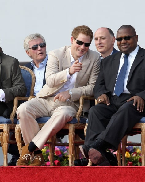 Prince Harry on stage in the Bahamas.