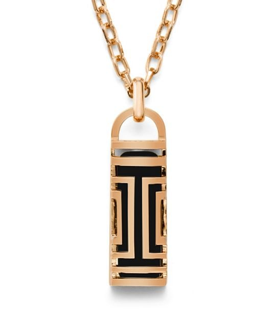 Tory Burch For Fitbit Fret Pendant Necklace in Rose Gold ($175)