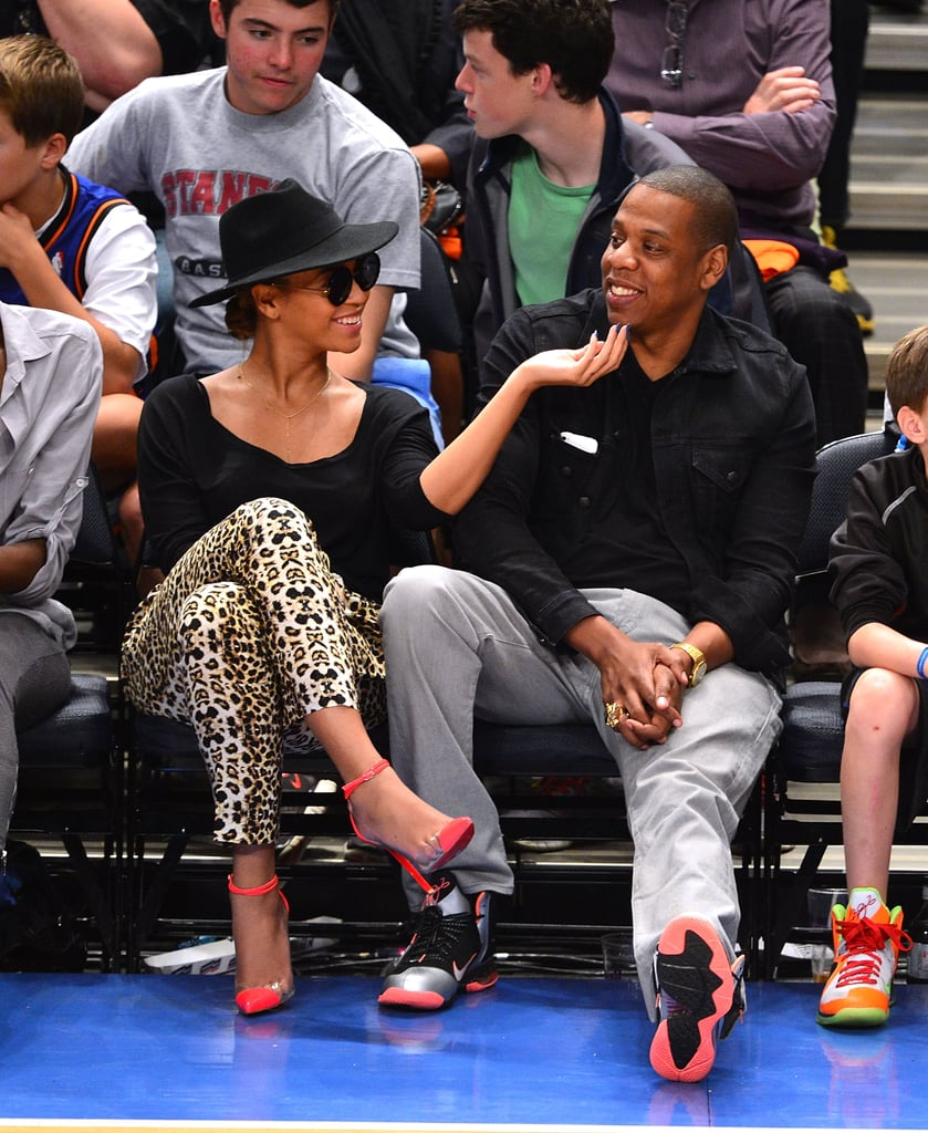 Jay-Z and Beyoncé were all smiles at an April 2012 Knicks game in NYC.