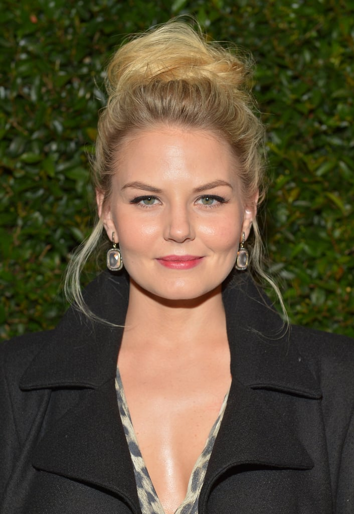 A textured topknot was the center of Jennifer Morrison's beauty look with a light lip stain to add oomph.