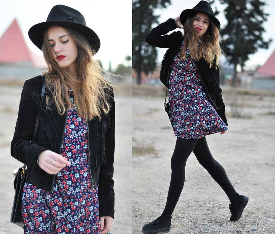 Pair a fringed suede jacket with pretty florals and comfy sneakers for a chic outcome. Photo courtesy of Lookbook.nu
