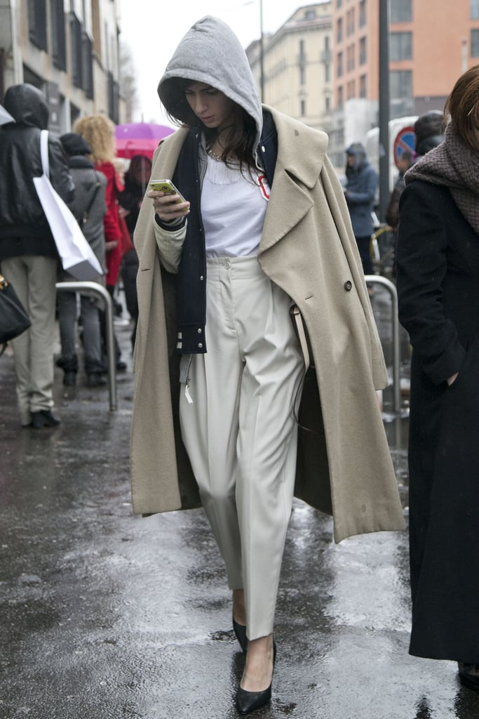 Rain couldn't stop the appeal of these preppy-meets-cool layers.
