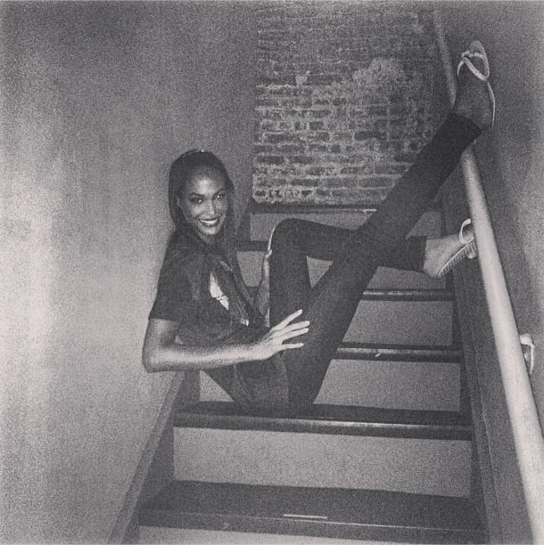 Joan Smalls recommended a quiet stairwell as a hiding place from the Fashion Week noise. Source: Instagram user joansmalls
