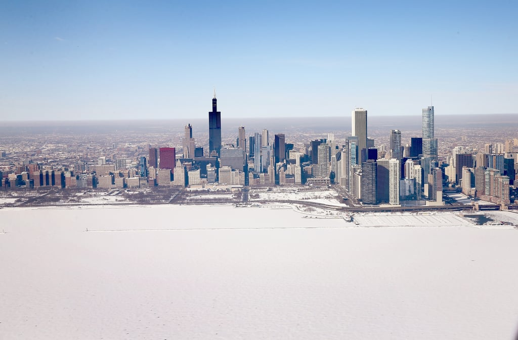 Chicago's shoreline is covered in snow following a crazy-cold Winter.