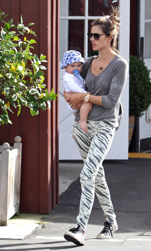 Alessandra Ambrosio's zebra-print denim stood out while on mommy duty in LA.