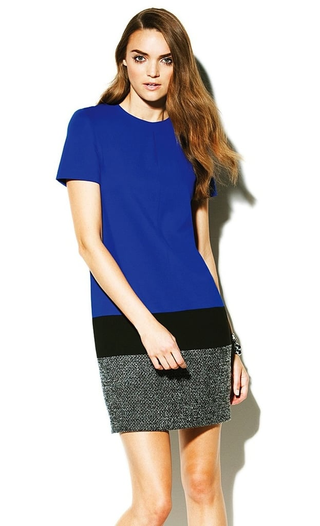 While an entirely tweed dress is chic, we dig that only the bottom portion of this Vince Camuto colorblock tweed dress ($120, originally $175) is tweed. It screams cool rather than posh.
