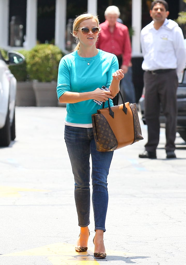 Reese Witherspoon visited the Brentwood Country Mart in LA.