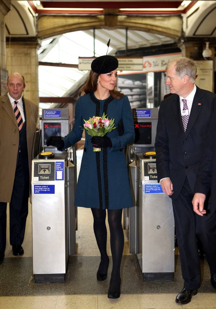 Kate Middleton toured a subway station in London with Queen Elizabeth II on March 20.
