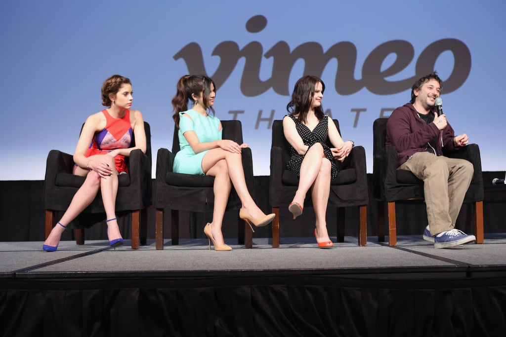 Ashley Benson, Selena Gomez, Rachel Korine, and Harmony Korine attended the Spring Breakers press conference at SXSW.