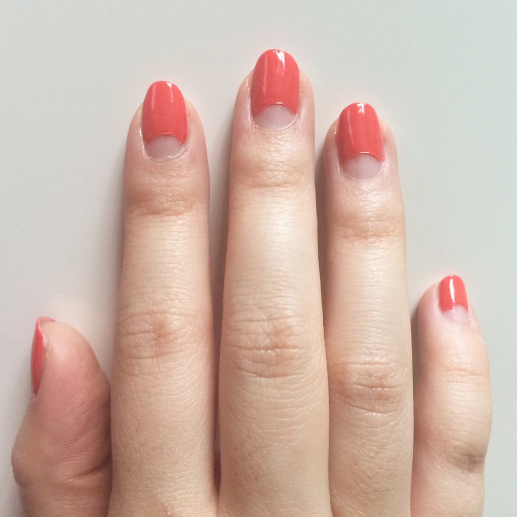 While the two coats of polish are still wet, gently remove the reinforcements. You'll be left with a pretty moon manicure.
