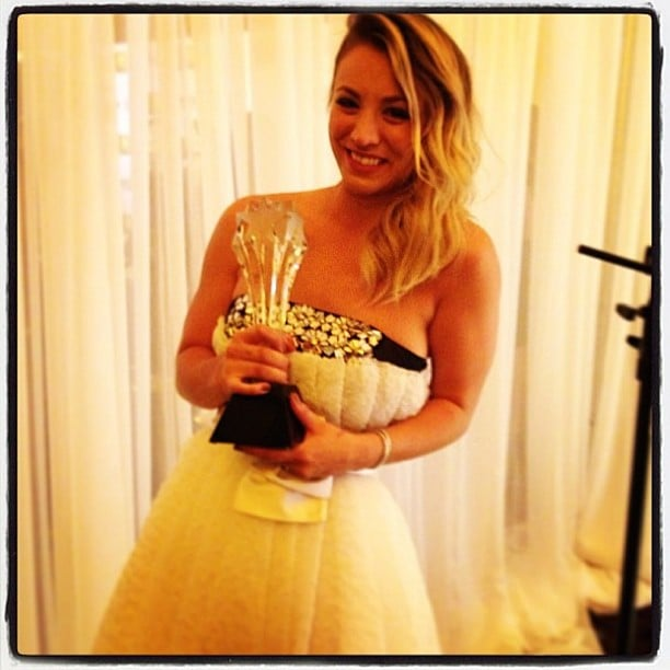 Kaley Cuoco celebrated her Critics' Choice Television Awards win backstage. Source: Instagram user kaleycuoco