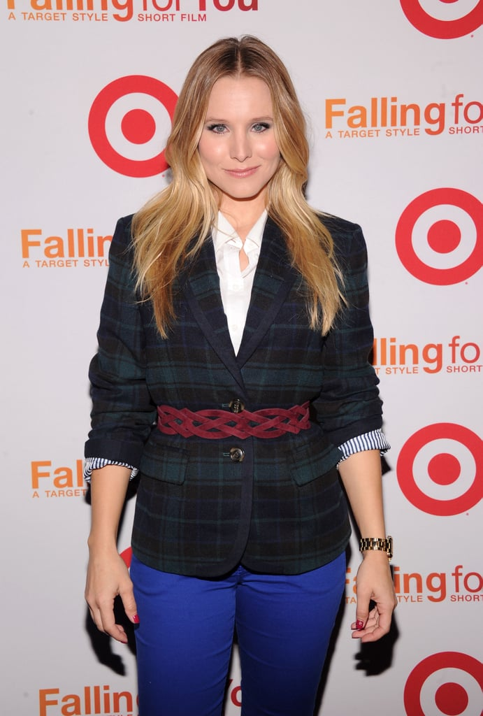 Kristen Bell belted a plaid blazer to step out for the Target party in NYC.