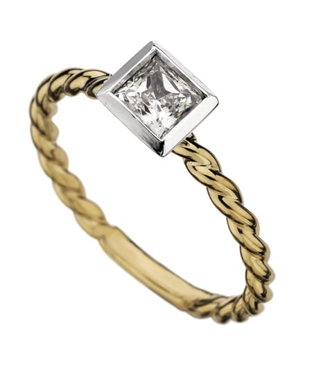 Phyllis Bergman Bezel-Set Princess-Cut Textured Shank Engagement Ring ($1,530)