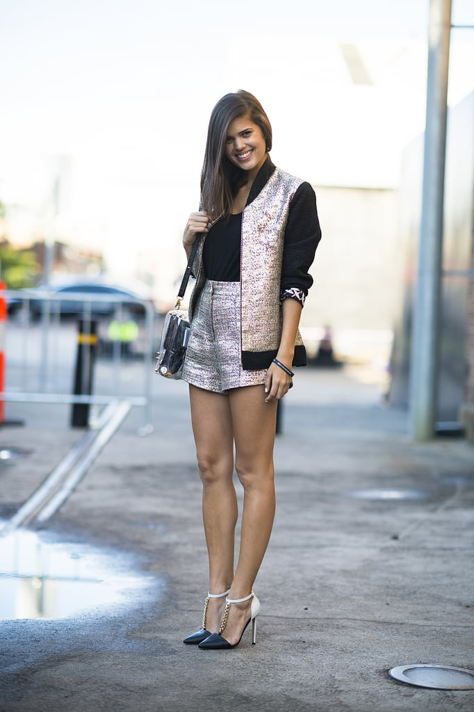 This attendee gave us a lesson in metallics for day in the form of a chic jacket and shorts combo. Source: Le 21ème | Adam Katz Sinding