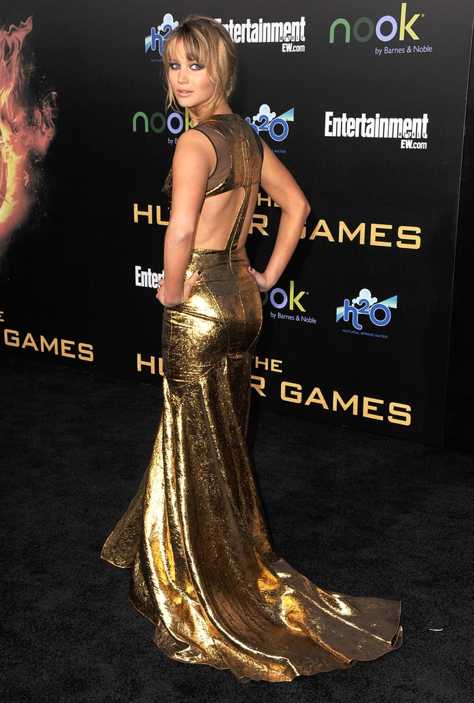 Jennifer Lawrence showed off her sexy Prabal Gurung dress on the black carpet at the LA premiere of The Hunger Games.