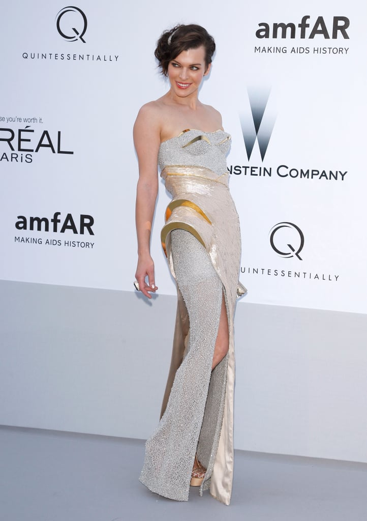 Milla Jovovich struck a futuristic chord with this white-and-metallic Versace number.