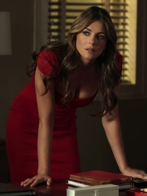 Elizabeth Hurley as Diana Payne in Red Emilio Pucci Dress