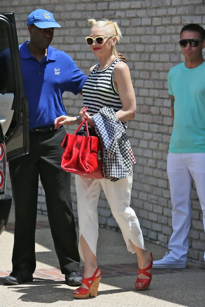 Gwen Stefani hopped in her car after attending Joel Silver's Memorial Day party in Malibu Monday.