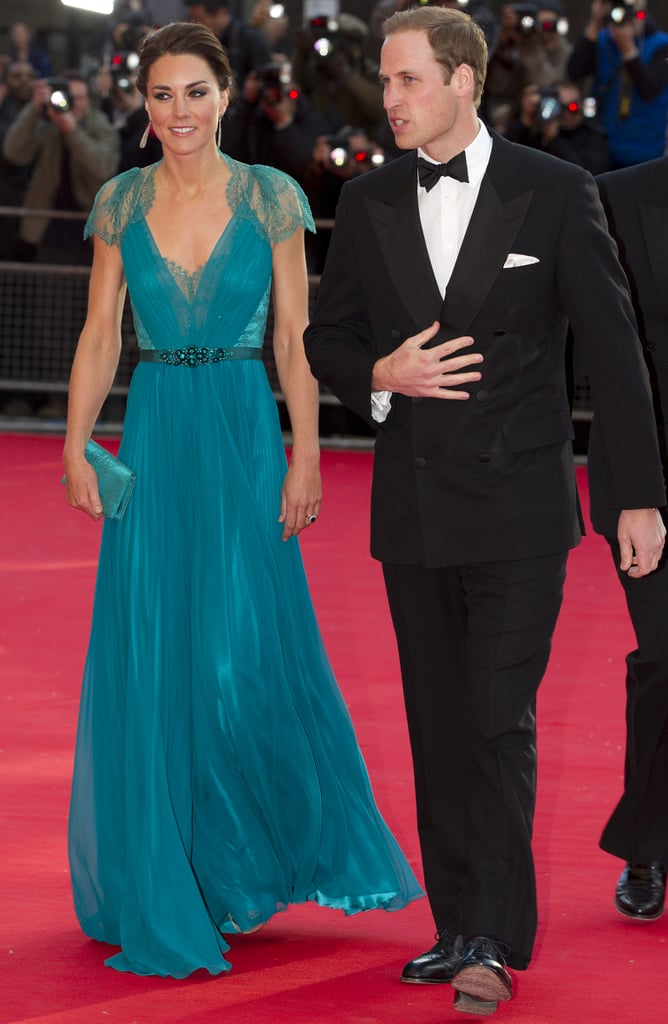 Kate Middleton's teal Jenny Packham gown moved effortlessly as she walked into Royal Albert Hall with Will at her side.