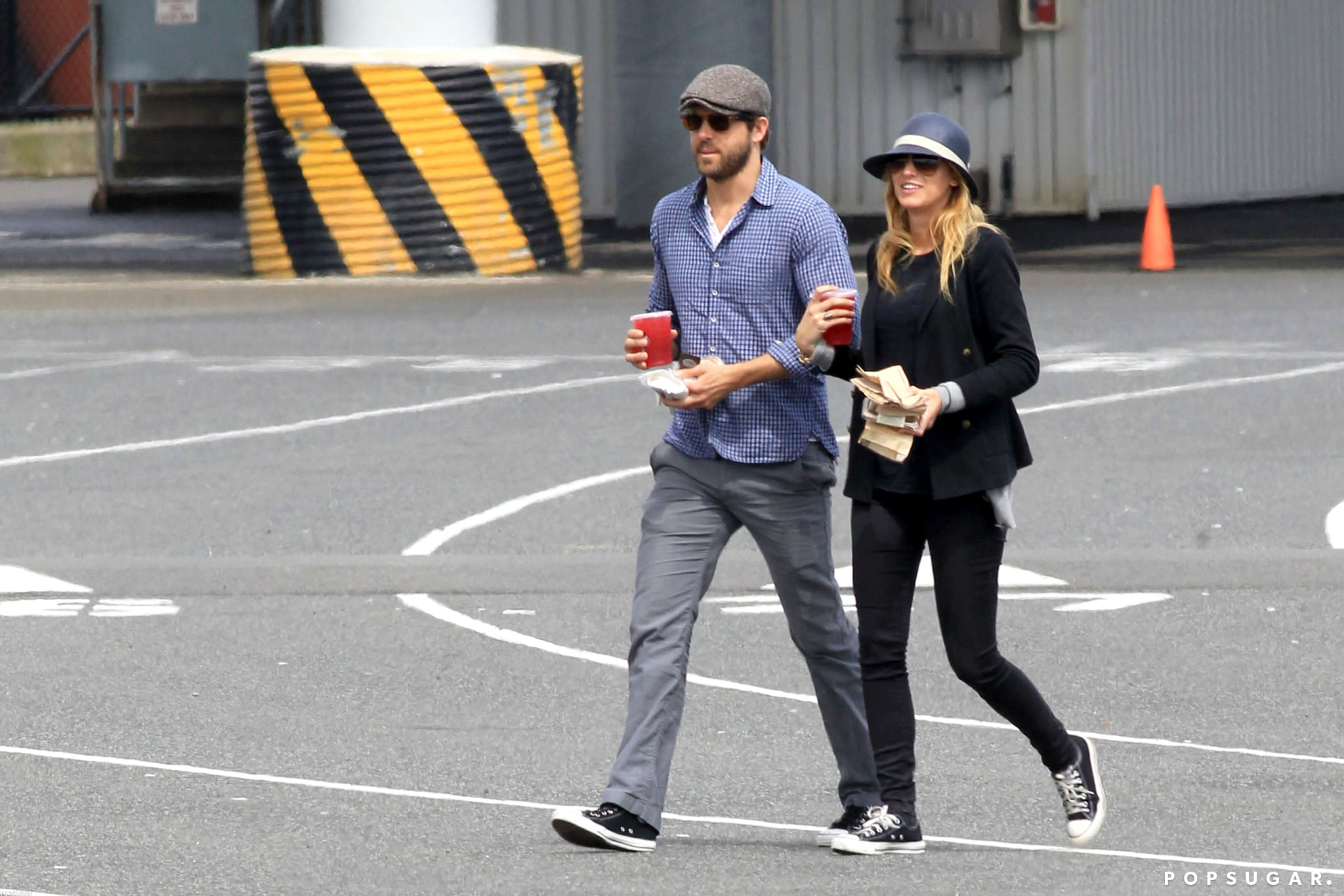 Ryan Reynolds strolled with Blake Lively.