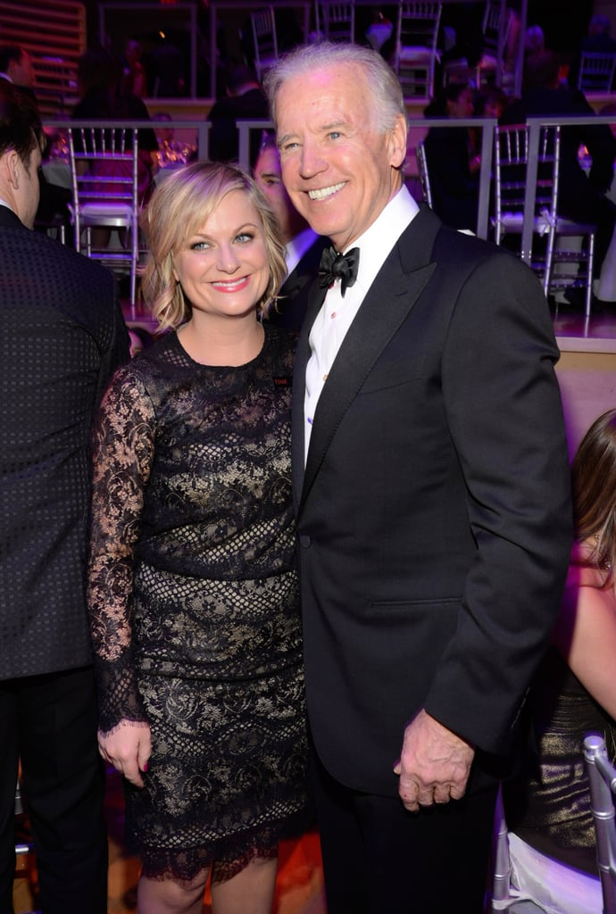 Amy Poehler and Joe Biden flashed smiles for the cameras.