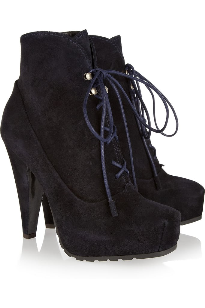 These will be the bit of downtown-cool to counter our feminine dresses for evenings out.  Proenza Schouler Suede Platform Ankle Boots ($775)