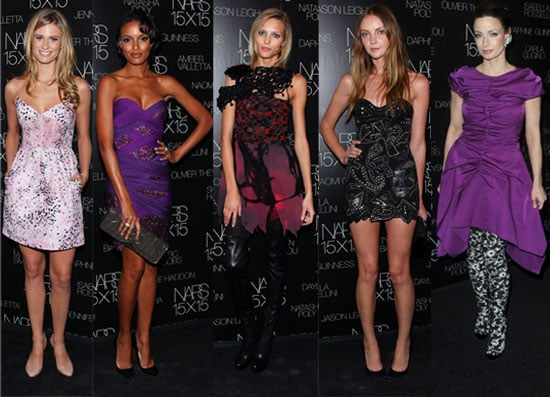 Photo of Anja Rubik, Selita Ebanks, Heather Marks, Julie Henderson, and Marie Smith at NARS 15X15 Party in NYC 2009-11-14 17:44:22