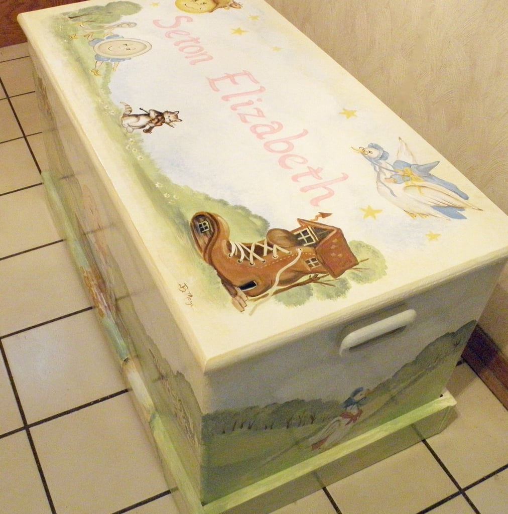 A hand-painted chest customized with your child's favorite nursery rhyme characters ($299) would make a most special gift.