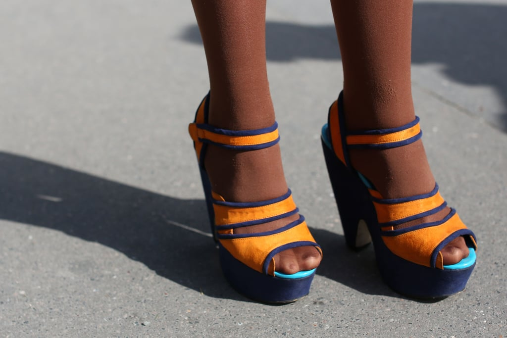 Colorblocked platforms always ensure that your outfit has a color kick.