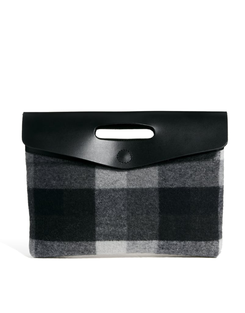 ASOS Leather & Check Oversized Clutch Bag ($80)