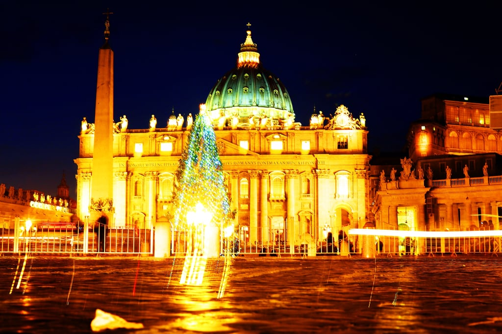 Vatican City was all aglow, with a giant Christmas tree on display in St. Peter's Square.